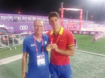 Greco insieme al suo allenatore Raimondo Orsini