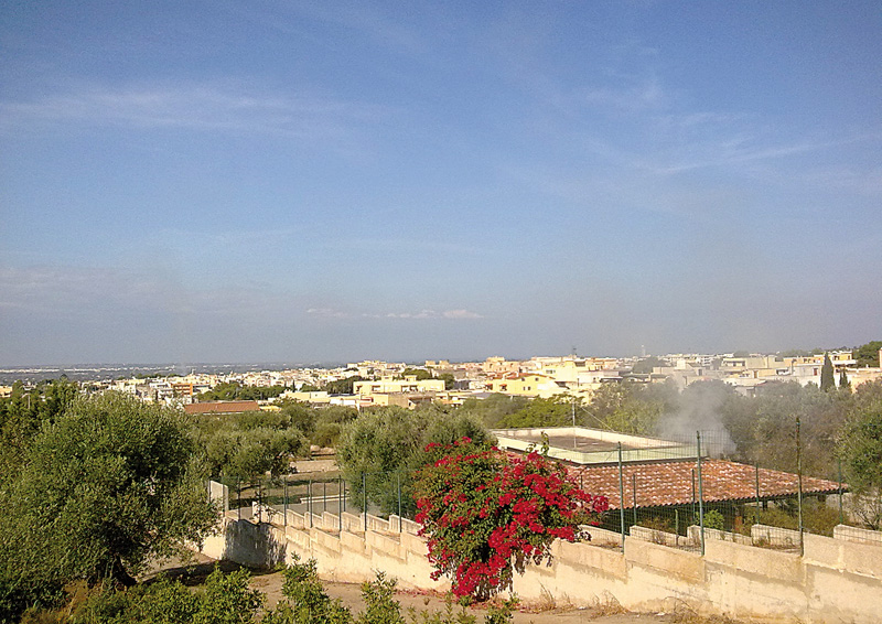Il panorama della città visto dalla collina della Campana