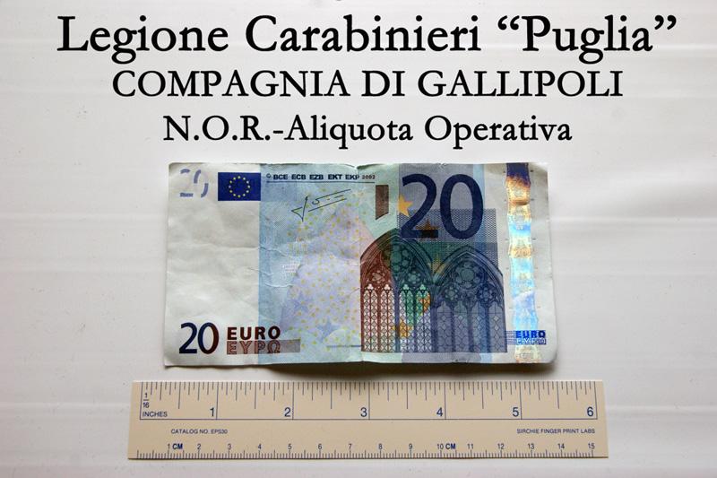 20 EURO SEQUESTRATI