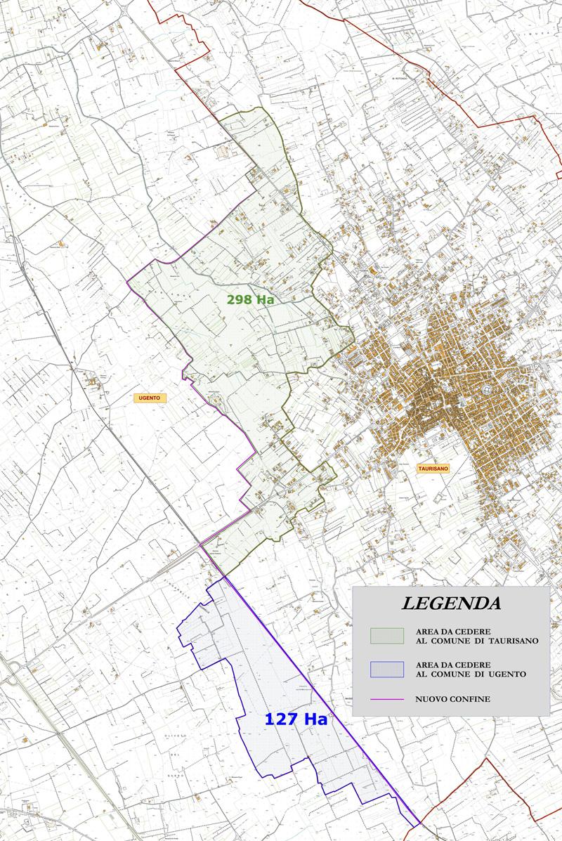 Planimetria confini Taurisano Ugento