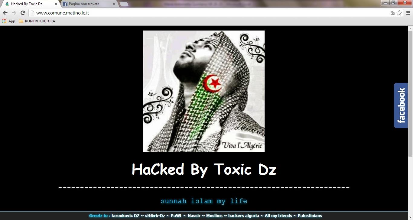 Il sito istituzionale del Comune di Matino così come appare dopo l'attacco hacker