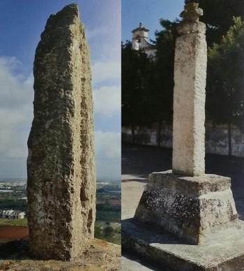 """Da sinistra: il menhir """"Crocicchie"""" individuato nel 1885 da Cosimo De Giorgi all'uscita di Taviano. Oggi un monolite che corrisponde alla descrizione fatta dallo studioso si trova all'esterno del villaggio di Castelforte nel territorio di Racale.  A destra nella foto: menhir """"Della Visitazione"""" menzionato nel 1916, anche questo dal De Giorgi. Oggi si trova alla periferia di Gemini vicino alla cappella della Visitazione (le foto sono tratte dal testo """"Dolmenhir"""", le sacre pietre del Salento"""""""