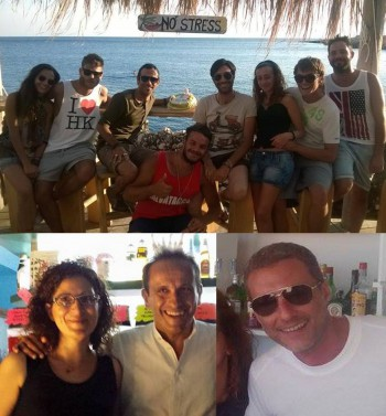 Sopra Fabio De Monte e il suo staff,   sotto da sinistra Giovanna Murciano con Uccio De Santis;  Emiliano Di Gesù