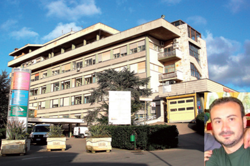 """L'ospedale """"Ferrari"""" e Luca Sabato dell'Aido. In basso l'assessore Laura Parrotta e l'ex consigliere Marrella"""