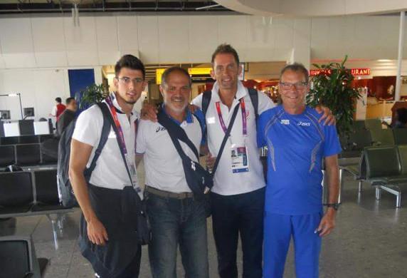 A sinistra Daniele Greco e a destra l'allenatore Raimondo Orsini