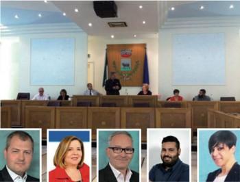 Gli assessori: da sin. D'Agostino, Normanno, Scarlino, Preite, Seclì
