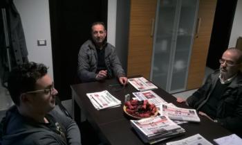 OSPITI IN REDAZIONE: Da sinistra Giuseppe Fracasso, Giorgio Giaffreda e Cosimo Romano