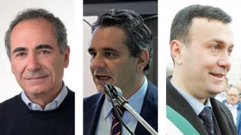Da sinistra i sindaci di tre dei Comuni che hanno sottoscritto la convenzione: Riccardo Monsellato (Presicce), Francesco Ferraro (Acquarica), Massimo Lecci (Ugento)