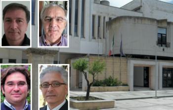 Il municipio e, da sopra a sinistra in senso orario, Luigi Arcuti, Paolo Manta, Giuseppe Menallo e Rocco Conte