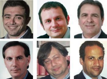 Da sinistra in alto in senso orario l'attuale primo cittadino Donato Metallo, Frediano Manni, Luigi Nuzzo, Francesco Cimino, Flavio Carlino, Massimo Basurto