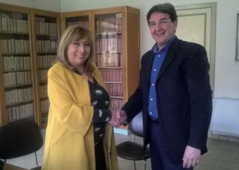 Il direttore generale della Asl Lecce Silvana Melli e il sindaco Stamerra