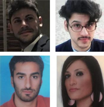 In alto da sinistra in senso orario Donato Rainò, Gianluca Vincenti, Giulia Miglietta e Marco Gnoni