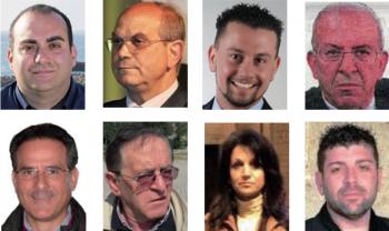 Qui sopra, e a seguire in senso orario, C. Botrugno, F. Filoni, Livio Nisi, G. Alemanno, F. Miceli, S. Moretto, Sonia Rizzello e S. Bruno