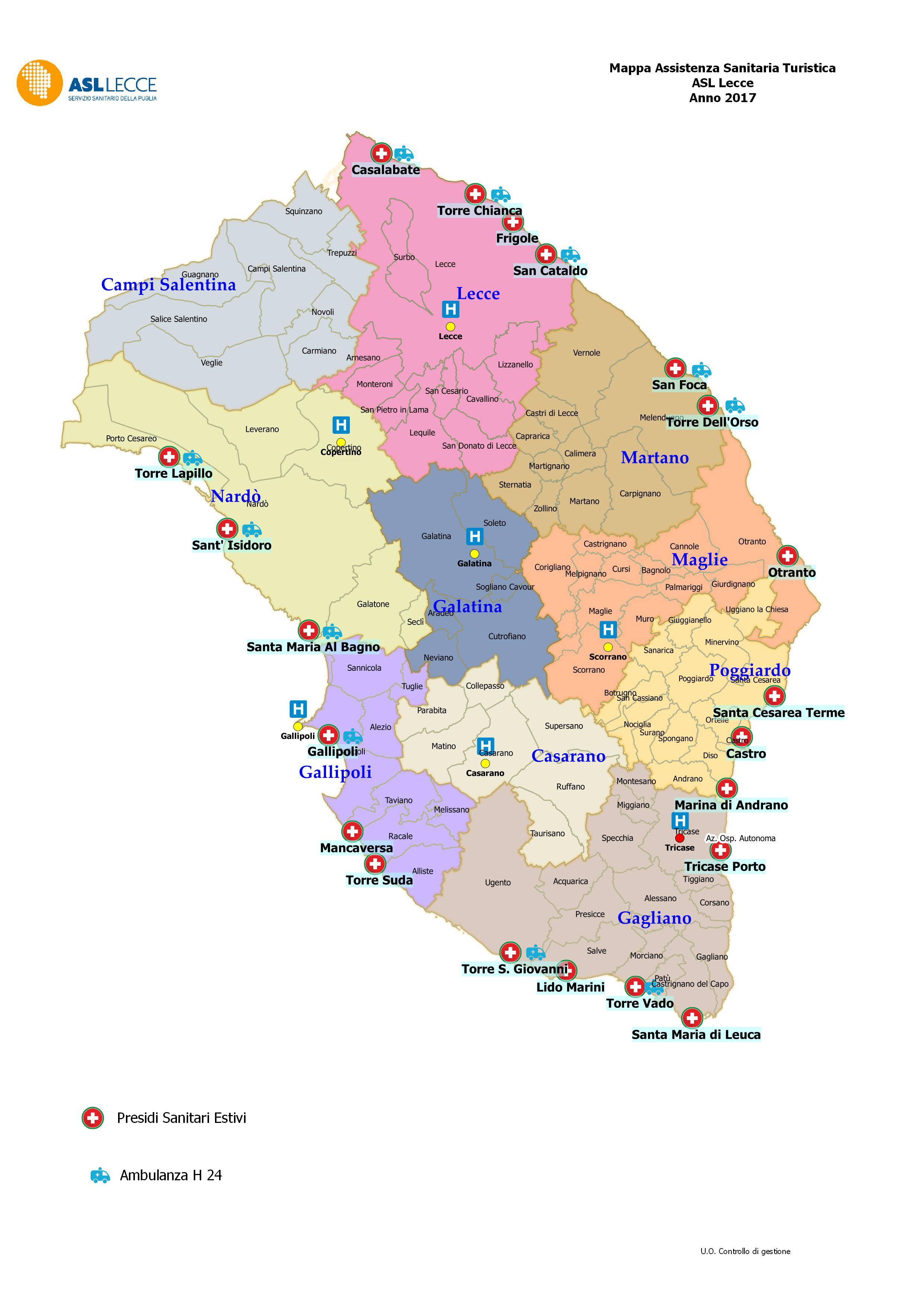 Pronti i presidi sanitari per le marine ecco la mappa del soccorso piazzasalento - Specchia lecce mappa ...
